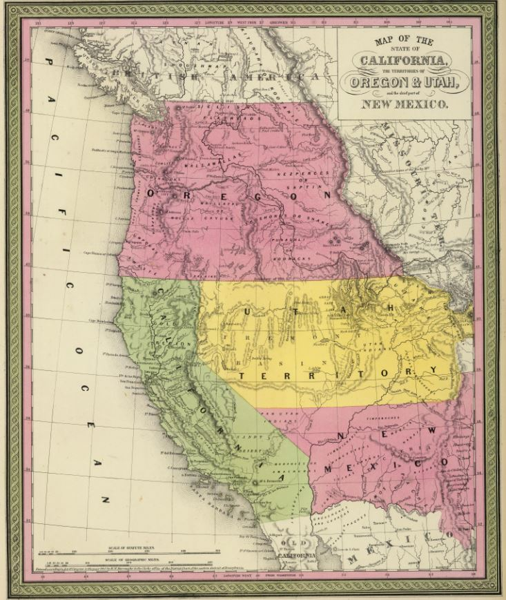1850 Map of the state of California, the territories of Oregon & Utah, and the chief part of New Mexico