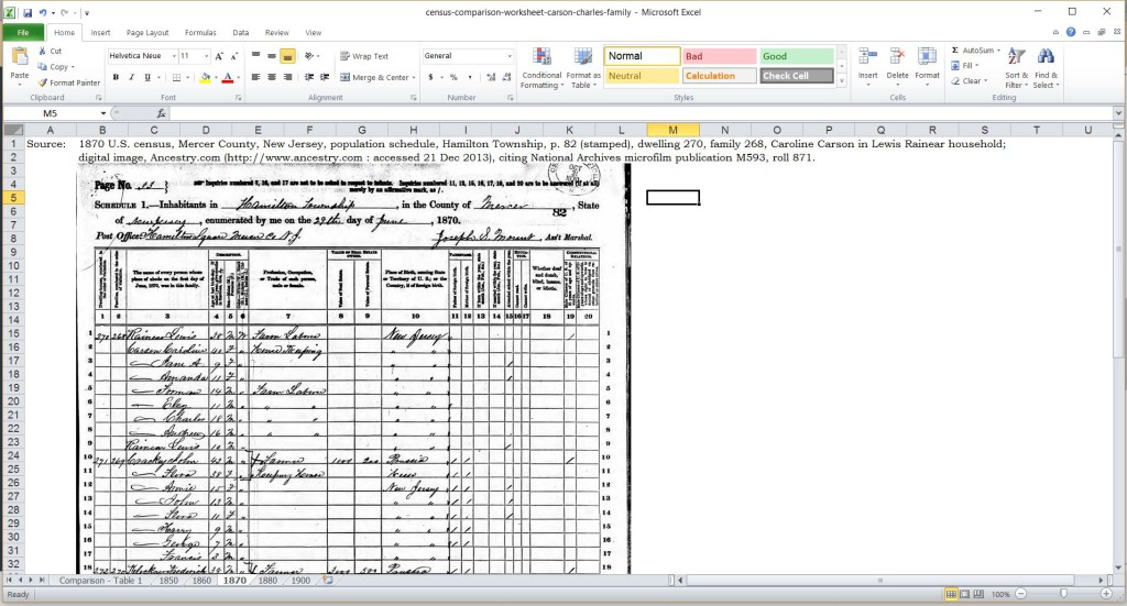 census comparison worksheet with census image and citation